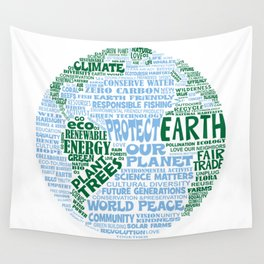 Protect Earth Word Bubble Wall Tapestry