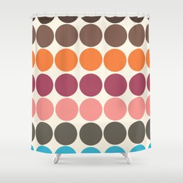 70s Style Clolorful Freehand Retro Dots Shower Curtain