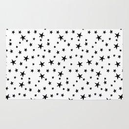 Mini Stars - Black on White Rug