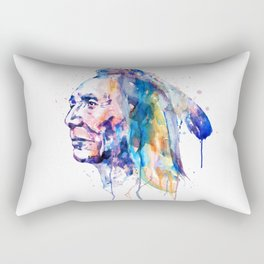 Sioux Warrior Watercolor Rectangular Pillow