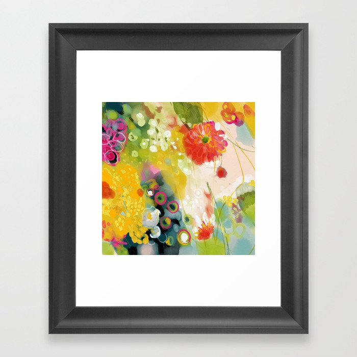 abstract floral art in yellow green and rose magenta colors Gerahmter Kunstdruck