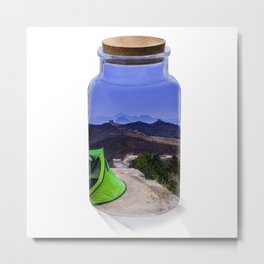 Bottle camping world Metal Print