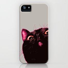 Curious cat, Black cat, Pop Art cat. iPhone Case