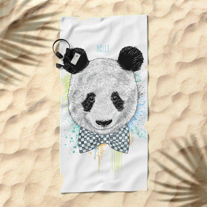 Hello Panda Beach Towel