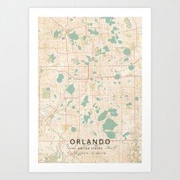 Orlando, United States - Vintage Map Art Print