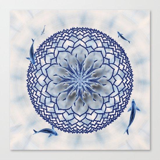 8 Koi Lotus Mandala in Blue Canvas Print