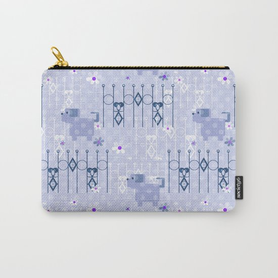 Blue pattern with puppy . Carry-All Pouch
