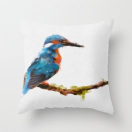 Kingfisher - watercolor (signed) Throw Pillow