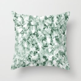 Geometric Stacks Sepia Green Throw Pillow