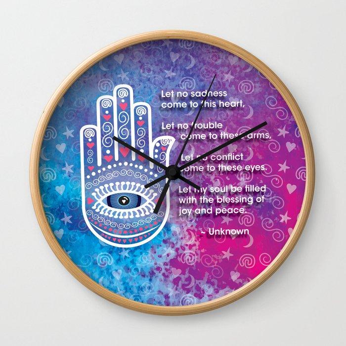 Hamsa Prayer Wall Clock