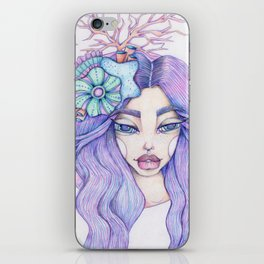 JennyMannoArt Colored Graphite/Keira the Mermaid iPhone Skin