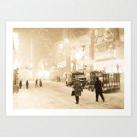 Blizzard on Times Square Art Print