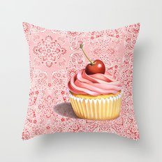 Pink Cupcake Paisley Bandana Throw Pillow