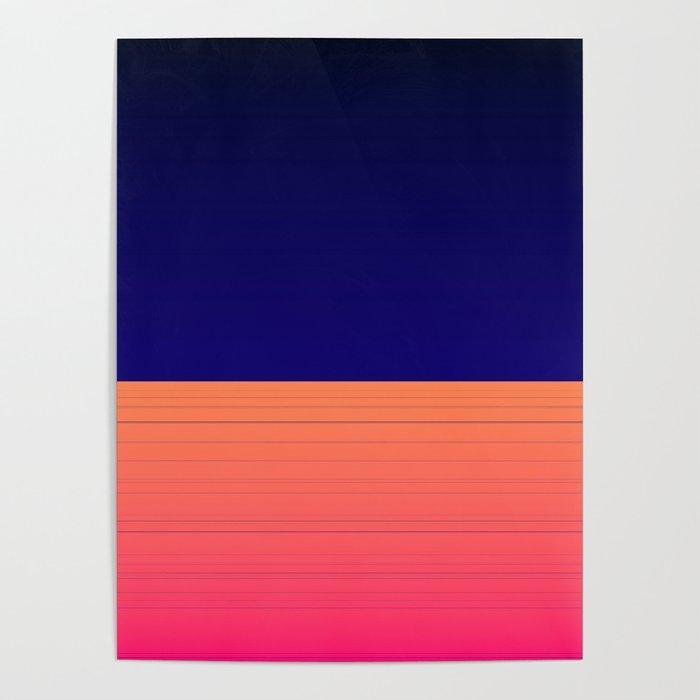 Vibrant Navy Blue Orange Pink Stripe Poster