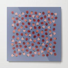 All over Modern Ladybug on Plum Background Metal Print