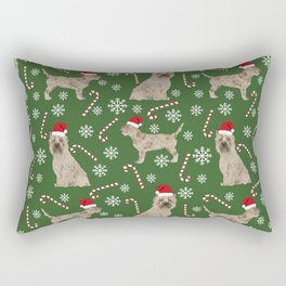 Cairn Terrier dog breed christmas snowflakes candy canes winter holiday pet gifts Rectangular Pillow