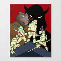 tmnt Canvas Prints featuring TMNT by SquidInkDesigns