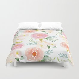 Sweet Pink Blooms (Floral 02) Duvet Cover