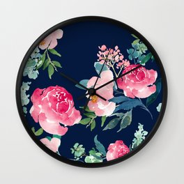 Navy and Pink Watercolor Peony Wall Clock