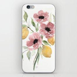 Watercolor-poppies-and-lemons iPhone Skin