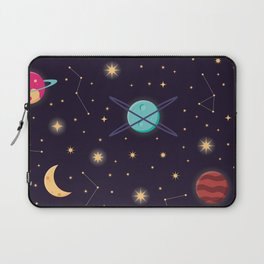Universe with planets, stars and astronaut helmet seamless pattern 001 Laptop Sleeve