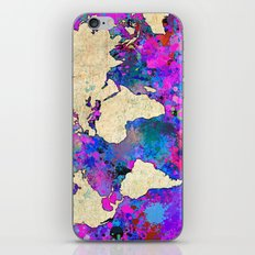 World Map - Magenta iPhone & iPod Skin