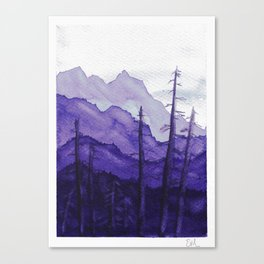 Tonal Mountain Study 2 Purple Canvas Print