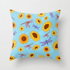 Sunflowers & Dragonflies Throw Pillow