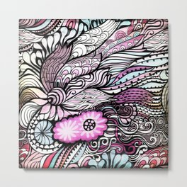 Abstract Floral Design Metal Print
