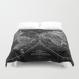 Black and White World Map (1795) Inverse Duvet Cover