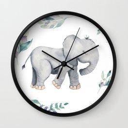 Bear & Mouse - Cute 4 Kids - Little Elephant In Flower Meadow Pattern I Wall Clock