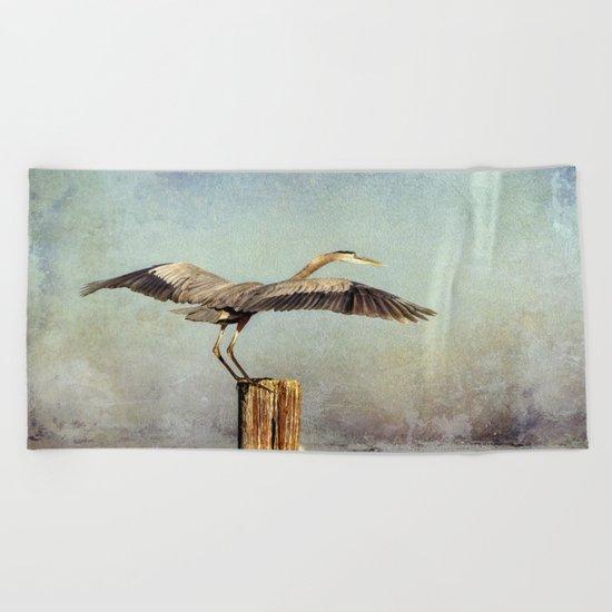 Blue Heron Landing Beach Towel