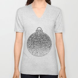 Silver Christmas bauble Unisex V-Neck