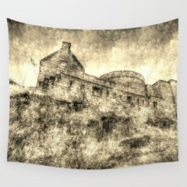 Edinburgh Castle Vintage Wall Tapestry