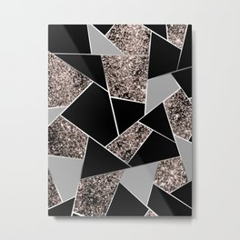 Rose Gold Geometric Glitter Glam #1 #geo #decor #art #society6 Metal Print
