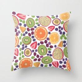 Gouache Fruit Pattern Throw Pillow