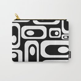 Atomic Age Pod Pattern in Black and White. Minimalist Monochrome Carry-All Pouch