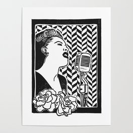 Lady Day (Billie Holiday block print blk) Poster
