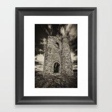 Cripplesease Engine House in Mono Framed Art Print