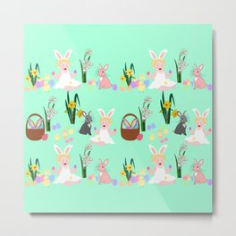 Easter pattern with babies, bunnies, eggs and daffodils Metal Print