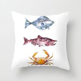 Alaska Marine Life Throw Pillow