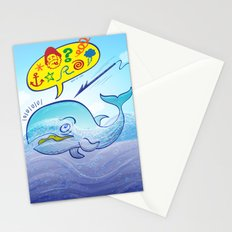 Wild whale saying bad words while fleeing a harpoon Stationery Cards
