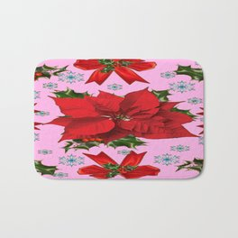 POINSETTIA SNOWFLAKES HOLLY HOLIDAY PINK DESIGN Bath Mat
