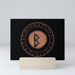 Berkano Elder Futhark Rune secrecy, silence, safety, mature wisdom, dependence, female fertility Mini Art Print