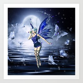 Blue Fairy and Butterflies Art Print
