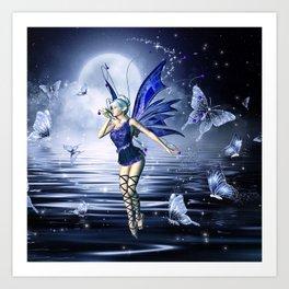 Blue Fairy and Butterflies Art Print