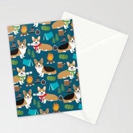 Corgi camping marshmallow roasting corgis outdoors nature dog lovers Stationery Cards