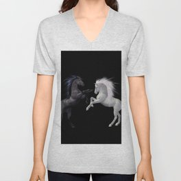 Black White horse Unisex V-Neck