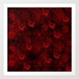 Red Butterfly Garden Art Print
