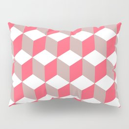 Diamond Repeating Pattern In Poppy and Soft Grey Pillow Sham